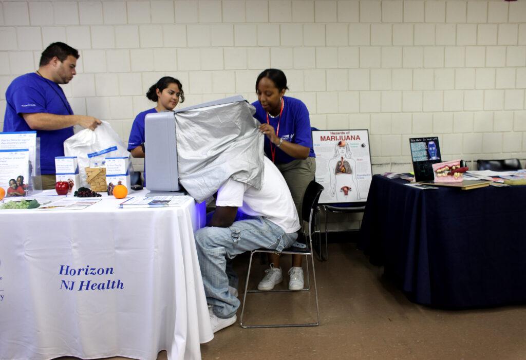 Health fair screening for homeless in Newark